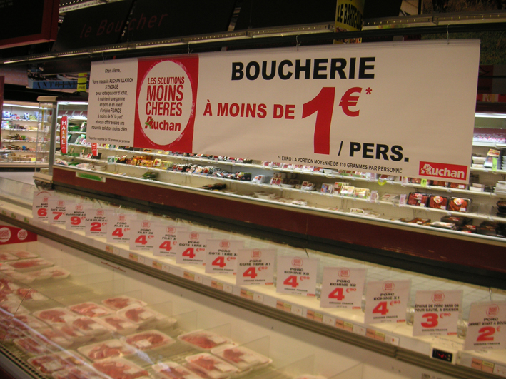 Auchan généralise la « viande à un euro »