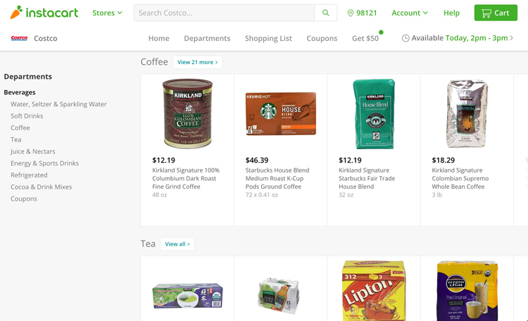 Costco sans carte Instacart