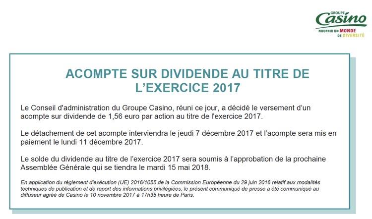 Casino Dividende